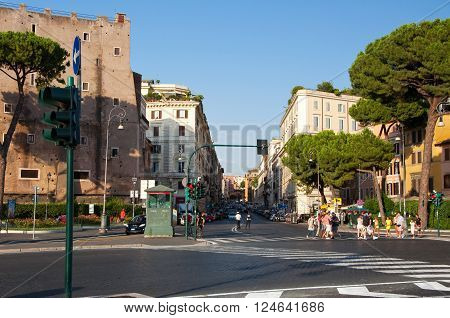 ROME-AUGUST 8: Via Cavour on August 82013 in Rome Italy. Via Cavour is a street in the Castro Pretorio rione of Rome named after Camillo Cavour.
