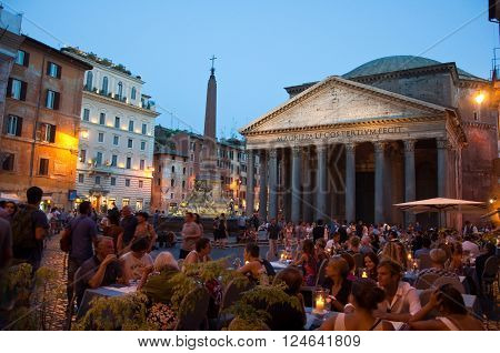 ROME-AUGUST 8: The Pantheon at night on August 8 2013 in Rome Italy. The Pantheon is a building in Rome Italy to all the gods of ancient Rome rebuilt by the emperor Hadrian about 126 AD.