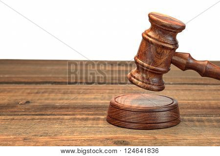 Real Judges Or Auctioneer Gavel On Wood Table  White Isolated