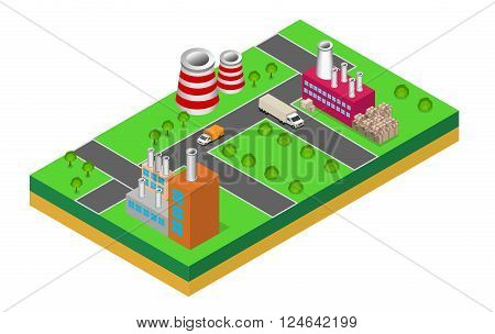 industrial buildings factories and boilers in perspective isometric factories