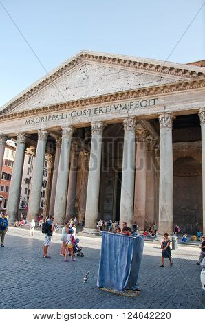 ROME-AUGUST 6: The Pantheon on August 6 2013 in Rome Italy. The Pantheon is a building in Rome Italy to all the gods of ancient Rome rebuilt by the emperor Hadrian about 126 AD.
