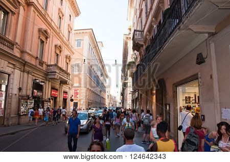 ROME-AUGUST 6: The Via del Corso on August 6 2013 in Rome. The Via del Corso commonly known as the Corso is a main street in the historical centre of Rome.