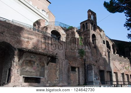 Remains of the top floors of an insula near the Capitolium and the Aracoeli in Rome