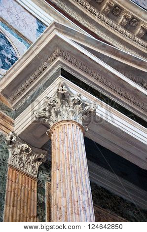 The Corinthian column of the Pantheon on August 6 2013 in Rome.