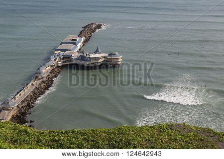Lima, Peru - August 29, 2015: Photograph of the restaurant La Rosa Nautica on the coastline of the district Miraflores.