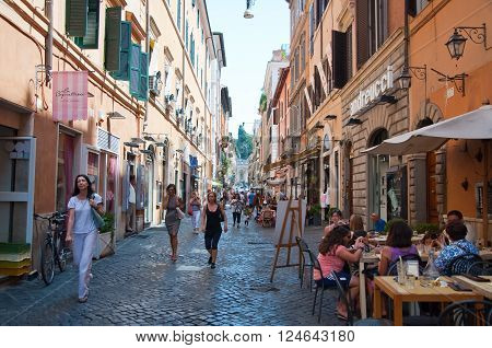 ROME-AUGUST 6: Via Della Vite on August 6 2013 in Rome. Via Della Vite is a busy and fashionable street of Rome Italy.