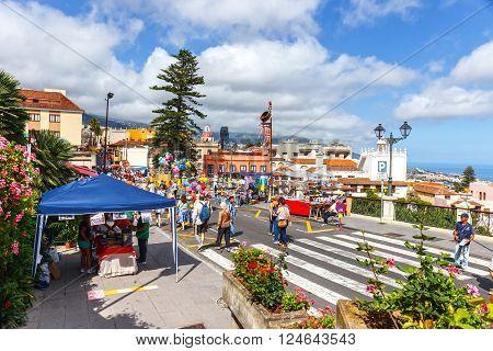 La Orotava Tenerife Spain - June 11 2015: Unidentified tourists walking in historic town La Orotava Tenerife Spain