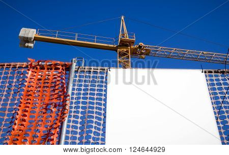 Blank billboard customizable on the construction site.