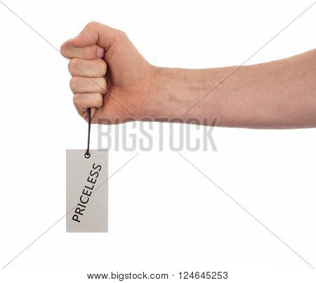 Tag tied with string, price tag - Priceless (isolated on white)
