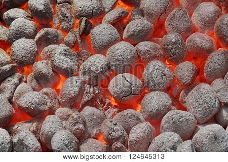 Bbq Grill Pit With Glowing Hot Charcoal Briquettes, Closeup