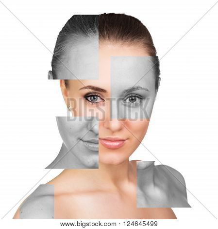 Portrait of perfect female face with parts without makeup