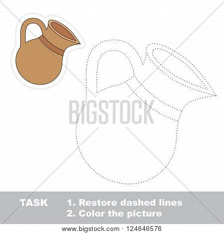 Clay jug in vector to be traced. Restore dashed line and color the picture. Trace game for children.