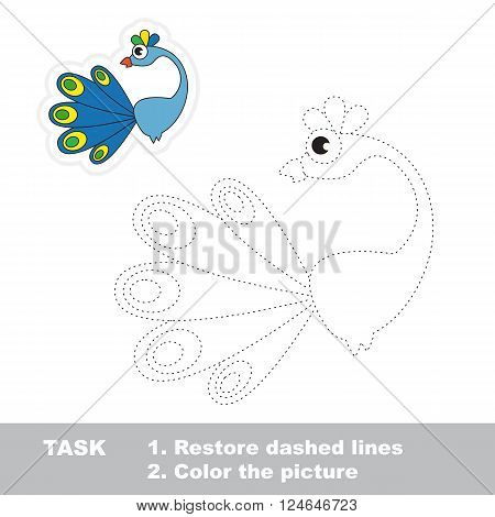 Peacock in vector to be traced. Restore dashed line and color the picture. Trace game for children.