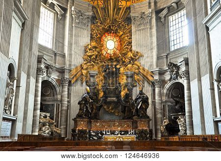 ROME-AUGUST 10: The altar with Bernini's baldacchino on August 10 2009 in Saint Peter's BasilicaVatican. Saint Peter's Basilica is a Late Renaissance church located within Vatican City
