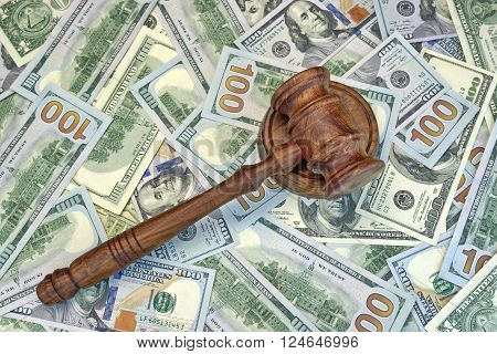 Judges Or Auctioneer Gavel On The Dollar Cash Background