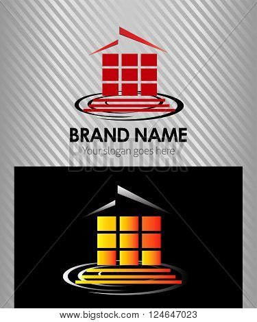 House abstract real estate logo design template
