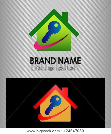 House and key logo icon vector design template