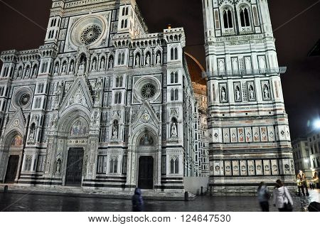 FLORENCE-NOVEMBER 10: The Duomo and Baptistery of St. John from Piazza del Duomo on November 10 2010 in Florence Italy.