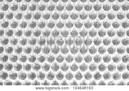 White Bubble Wrap Packing Or Air Cushion Film Abstract Horizontal Texture For Creative Art Work Background Close Up Top View Copy Space
