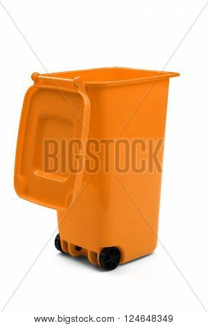 Orange Plastic Waste Container Or Wheelie Bin, Isolated On White