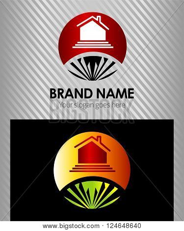 House sign round logo for real estate company