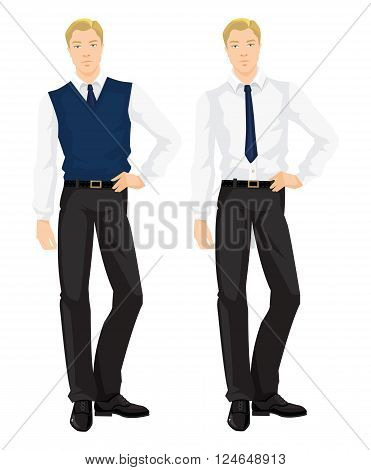Vector illustration of corporate dress code. Business man in formal white blouse, black pants, navy necktie and navy sweater vest isolated on white background. Base wardrobe.