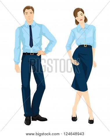 Vector illustration of corporate dress code. Man and woman in official light blue shirt, navy pants, black belt, black shoes and navy skirt isolated on white background. Formal wardrobe.