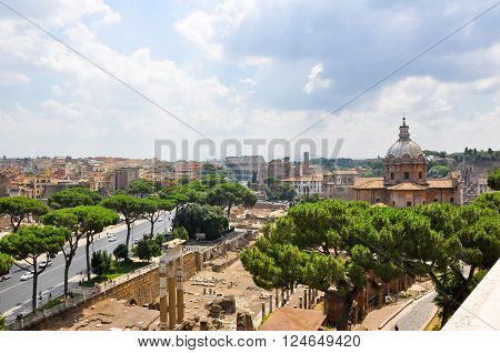 ROME-JULY 19: Rome as seen from the Capitoline Hill on July 19 2013 in Rome Italy.