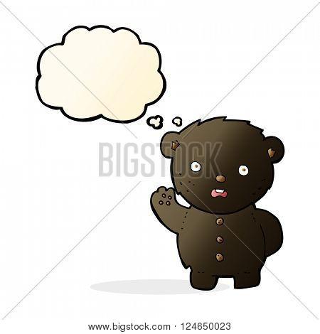 cartoon unhappy black teddy bear with thought bubble