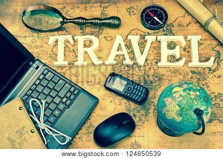 Sign Travel, Laptop, Mouse, Globe, Compass, GSM Phone, Letter, Magnifier