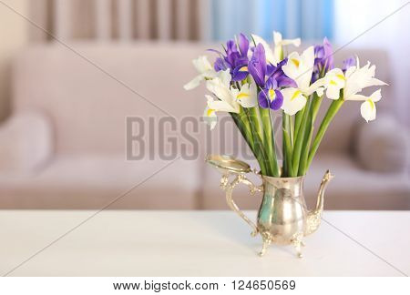 A bouquet of fresh irises, close up