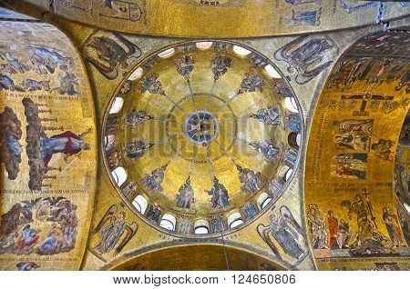 VENICE-JUNE 15: Interior of St Mark's Basilica on June 15 2012 in Venice Italy. St Mark's Basilica is the cathedral church of the Roman Catholic Archdiocese of Venice northern Italy.