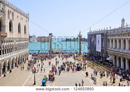 VENICE-JUNE 15: The Piazzetta San Marco view from Saint Mark's Basilica on June 15 2009 in Venice. St Mark's Square is the principal public square of Venice Italy.
