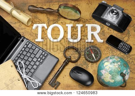 Sign Tour, Laptop, Key, Globe, Compass, Phone, Camera, Letter, Magnifier
