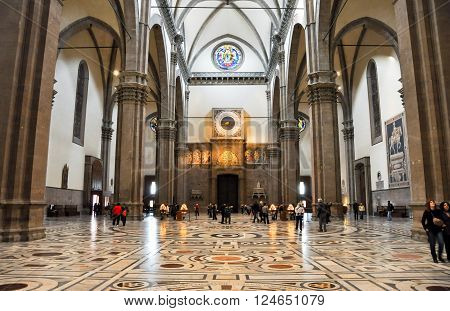 FLORENCE-NOVEMBER 10: The nave of the Basilica di Santa Maria del Fiore and the clock decorated by Paolo Uccello on November 10 2010 in Florence Italy.