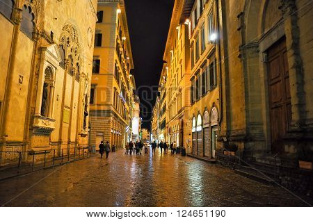FLORENCE-NOVEMBER 10:Via dei Calzaiuoli at night on November 10 2010 in FlorenceItaly. Via dei Calzaiuoli is one of Florence's shopping streets with various historical point of interest.