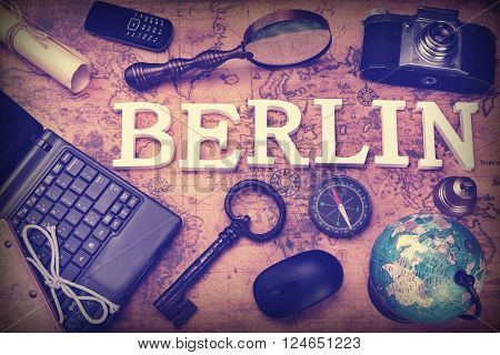 Sign Berlin, Laptop, Key, Globe, Compass, Phone, Camera, Letter, Magnifier