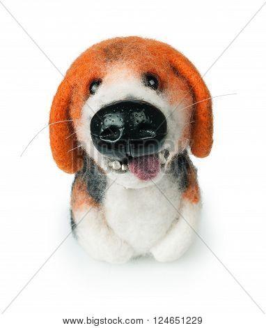 small felt handmade toy dog isolated on white background