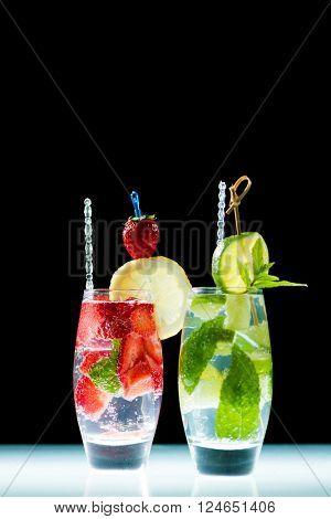 Studio shot of fresh mojito drinks