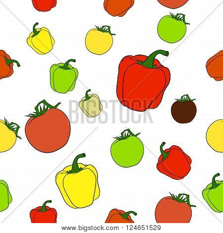Fully vector seamles pattern with tomatoes and peppers in various colors