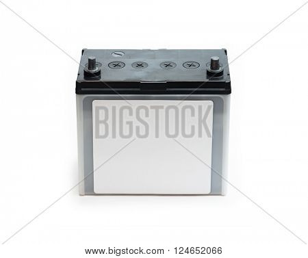 Car battery or automotive battery, with white blank label, isolated on white. Rechargeable battery.