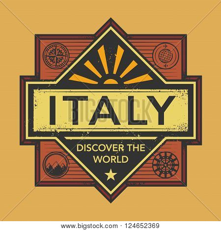Stamp or vintage emblem with text Italy Discover the World, vector illustration