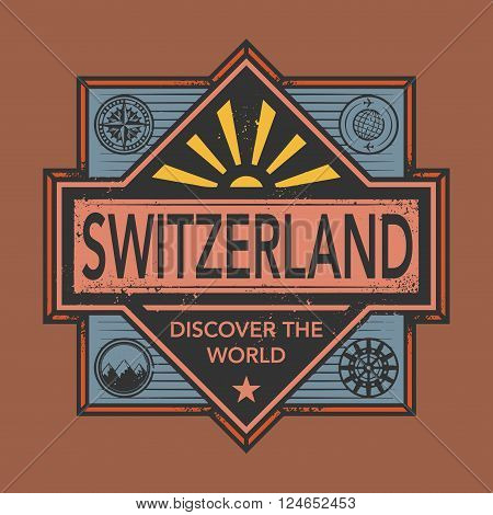 Stamp or vintage emblem with text Switzerland Discover the World, vector illustration