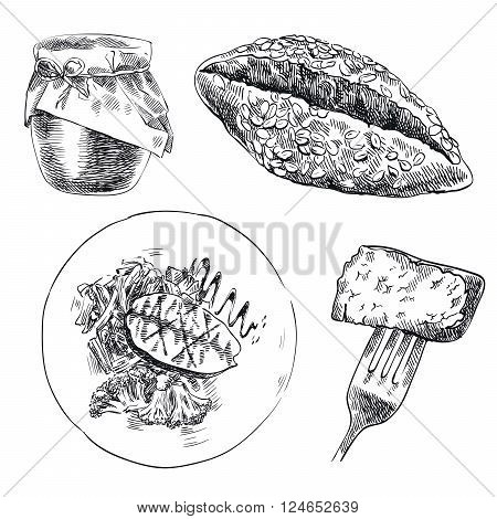 hand drawn sketches of foodstuffs on a white background