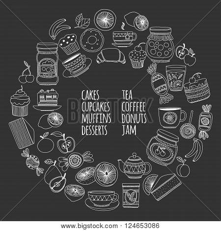 Images for confectionery or coffee shop Hand drawn images on blackboard