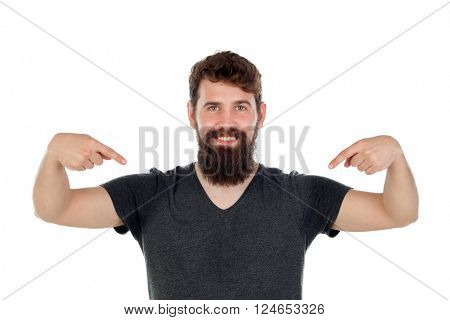 Man with long beard pointing to himself isolated on white background