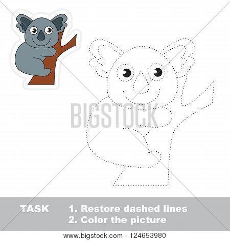 Koala in vector to be traced. Restore dashed line and color the picture. Trace game for children.