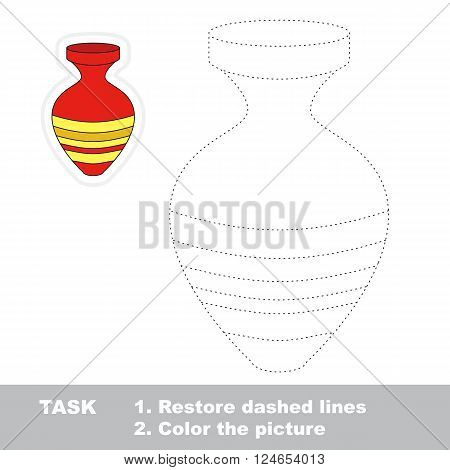 Vase in vector to be traced. Restore dashed line and color the picture. Trace game for children.