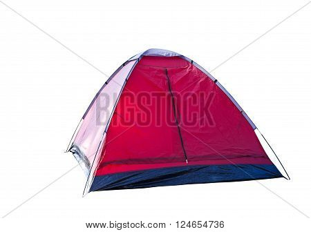 Isolated red dome tent on white with clipping path