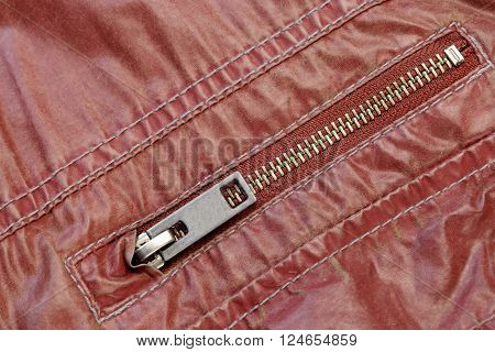Zippered Red Leather Pocket Close-up